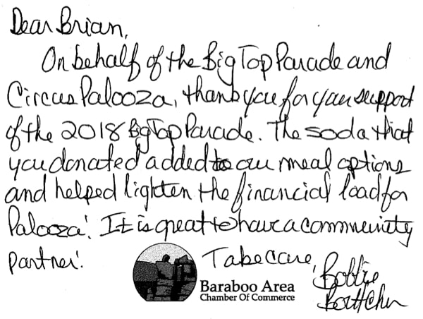 Baraboo Chamber thank you note