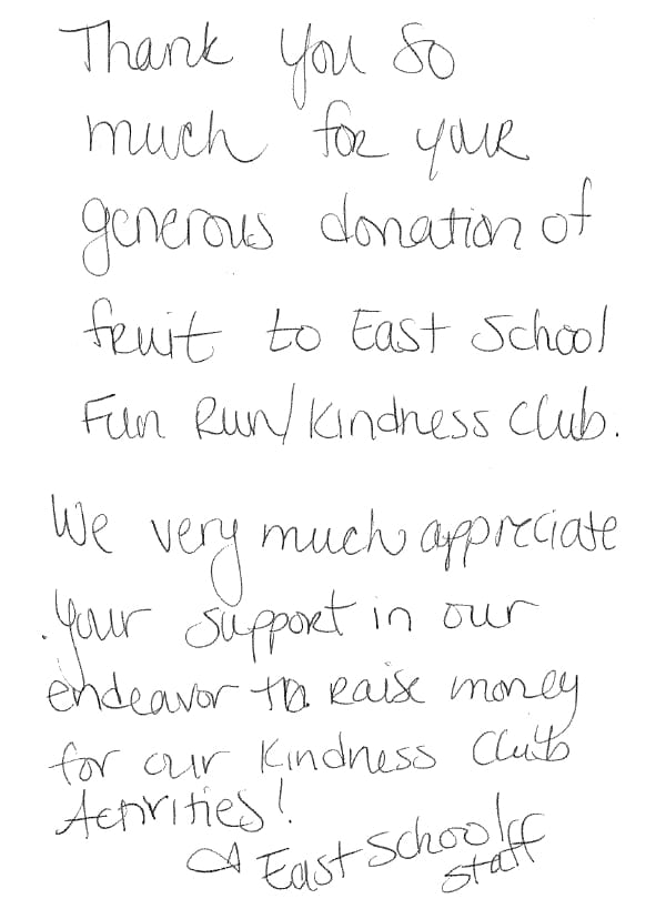 East School Thank you note