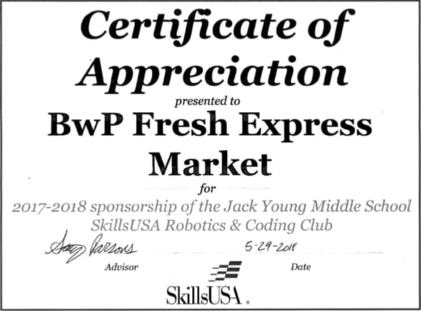 Robotics Club Thank You